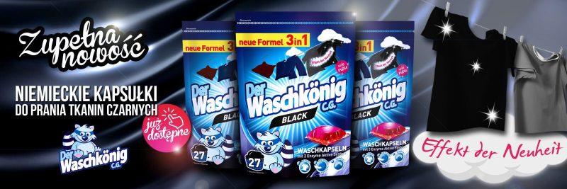 Nowe kapsułki do prania tkanin ciemnych Waschkonig Black 27 sztuk